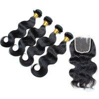 Malasia onda del cuerpo con el encierro del cordón (4 * 4) cierres frontales 8a calidad de pelo de virgen con haces de color natural se puede teñir el envío libre