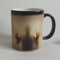 Wholesale Drop shipping walking dead Zombie Coffee Mug cup Heat sensitive Magic Morphing Color Changing Tea Mug Transformation