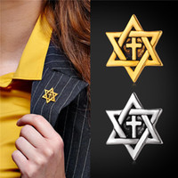 Wholesale U7 David Star Cross Brooches Fashion Unisex Jewelry K Gold Platinum Plated Christian Religious Accessories Cross Jewelry