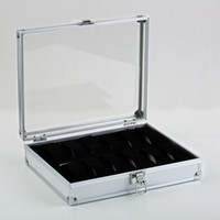 aluminium storage containers - Professional Grid Slots Jewelry Watches Display Storage Square Box Case Aluminium Suede Inside Container Jewelry Organizer