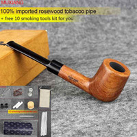 acrylic carbons - MUXIANG Imported Rosewood Tobacco Pipe Straight Stem with Acrylic Saddle Mouthpiece mm Carbon Filter Men Smoking Pipe China Supplier ad0002
