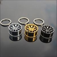 alloy wheel key - New Design Cool Luxury metal Keychain Car Key Chain Key Ring Creative Wheel Hub Chain For Man Women Gift