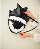 Wholesale 2016 New Cartoon Shark Bag Cute Girls Shoulder PU Leather Bag Fashion Designer Messenger Bag High Quality Purse Girl Boy ZA0036