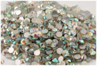 Wholesale high quality SS20 mm round shape crystal AB flat back nail art glue on non hotfix rhinestone