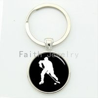 antique silhouette - Elegant ice hockey keychain vintage style hockey players profile silhouette key chain leisure sports jewelry father s gift KC430