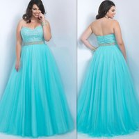 Wholesale Plus Size Special Occasions Dresses Sweetheart Blue Crystal Beaded A Line Evening Gowns Maxi Tulle Prom Dress For Fat Ladies