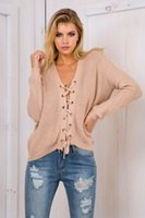 Cheap 2016110121 Vintage lace up nude thin sweater women Autumn winter loose knitted v neck sweaters Sexy pullover long sleeve jumpers