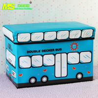 Wholesale Manufacturers supply new PVC cartoon large children s clothing folding stool leather toy bus storage stool