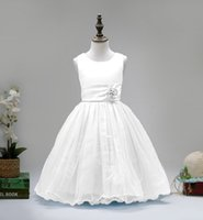 Wholesale Flowers girl dresses girls princess dress Sky Blue Purple Pink Ivory White Red Sleeveless ball gowns for girls