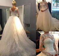 Wholesale 2015 Sexy New Sheer Lace Long Sleeves Backless A Line Wedding Dresses High Neck Tulle Applique Beaded Court Train Bridal Gowns