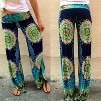 Wholesale 2016 Womens Floral Casual Wide Leg Long Stretch Pants Bohemian Loose Palazzo Trousers