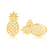 Wholesale 10pcs Stainless Steel Orecchini Donna Fine Jewelry Rose Gold Plated Fashion Cute Fruit Pineapple Stud Earrings E164