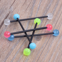 acrylic industrial barbell - acrylic glow in dark barbell earring Industrial mix colors body piercing jewelry Tragus Earring Long bar mm