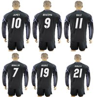 Wholesale 16 madrid black long sleeve soccer jersey RONALDO BALE JAMES MADRIC KROOS black long sleeve football jersey shirt with shorts