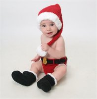 Wholesale 2016 Spring Baby photography props bodysuit Shorts and shoes baby costume for Newborn Baby Months Birthday present With Chirstmas Hat