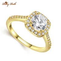 Wholesale 2016 new stainless steel show K gold single zircon dignified elegant wedding engagement ring lady like crystal jewelry series