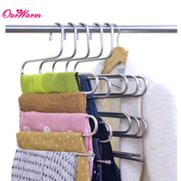 laundry products - S Shaped Pants Rack Multilayer Trousers Hanger Silver Stainless Steel Metal Clothes Organize Laundry Products