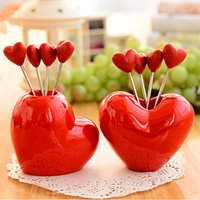 Wholesale 5pcs Red Heart Stainless Steel Fruit Fork stand tableware Dinnerware Sets fruit toothpick kitchen accessories