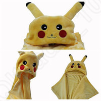 air cape - Fleece Pikachu blanket Baby Cape Cartoon Poke Anime Cute Kawaii Hooded Coplay Cloak Wrap Air condition Lounged Blankets LJJO816