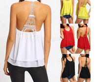 Wholesale 2016 United States New Women s clothes Eiffel Tower backless T shirt Snow spins unlined upper garment t shirt tank tops for women S XL DX20