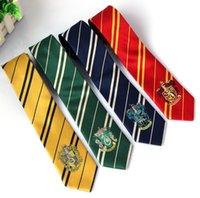 Wholesale Harry Potter Necktie Slytherin Hufflepuff Ravenclaw Costume Accessory tie stripe badge ties Ravenclaw Neckties KKA441