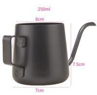 Wholesale 245ml New teflon Milk Pitcher Coffee Jug stainless steel milk cup espresso tools gooseneck spout kettle