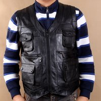 Wholesale Vests real leather cowhide autumn winter fishing outdoor reporters more pocket bag old man head laye leather vest keep warm