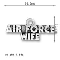 air force coins - 50pcs series Air Force wife alphabet alloy letter charms headwear M61510 Charms Cheap Charms