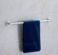 Wholesale 60cm aluminum towel racks single rod wall mounted towel bar with strong base never rust fade