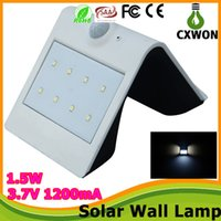 Wholesale New w PIR Solar Powered LED Wall Lamp LED Lights Wall Light Sensor Light Motion Detection Path Garden Yard led night light