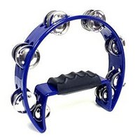 Wholesale SEWS Tambourine Blue Hand Held with Double Row Metal Jingles Percussion Church Band