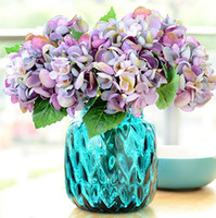 artificial seashells - Silk Single Stem Mini Hydrangea cm quot Length Artificial Seashells Hydrangeas Green Leaf for DIY Bridal Bouquet Wedding Centerpieces