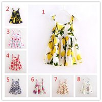 Wholesale 8 color Baby Print Lemon bowknot floral sleeveless vest Dresses Kids Girls Summer Dress strawberry cherry butterfly fruit cotton Dress