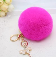 Wholesale New arrival colors Cute Genuine Leather Rabbit fur ball plush key chain with little angel for car key ring Bag Pendant keychain