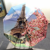 architectural umbrellas - Parasol European And American Architectural Style Printed Cotton Canvas Umbrella Uv Automatic Three Folding Creative Clear