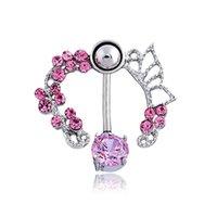 bell ceramics - New Stainless Steel Pink Buttlerfly Zircon Rhinestone Crystal Belly Button Ring Tassel Dangle Navel Body Jewelry Piercings