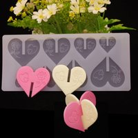 Wholesale 8 Holes D Love Heart Shape Chocolate Plugin Mould Silicone Baking Mould for Cake Decoration Bake Mold Assorted Sized Moulds White Color