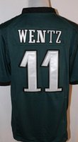 Wholesale Men s Game Jersey Carson Wentz Zach Ertz Brian Dawkins Darren Sproles Green Black White Jerseys