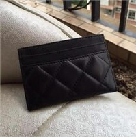 Wholesale Top quality caviar card holder lambskin card holder genuine leather women card bag mini credit card holder