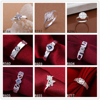 Wholesale Women s gemstone sterling silver ring pieces a mixed style EMR13 hot sale high grade fashion silver ring