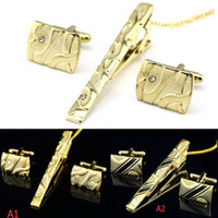 Wholesale Man Dress Shirt Necktie Tie Bar Clasp Gold Clip Pin Cufflinks Set Party C00126 SPDH