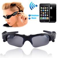 venda por atacado mp3, óculos de sol-Sem fios flip-up Bluetooth Sunglasses Stereo Headset MP3 Music Óculos fone de ouvido para telefone mãos livres / Tablet PC