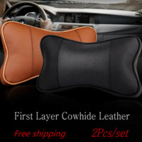 Wholesale For Alfa Romeo cowhide leather Car headrest set Leather neck seat cushion pillow Neck Auto Safety Pillow