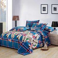 Wholesale cotton girl s bedding set pc duvet quilt cover flat sheet pillow sham full queen England American France flag Famous place