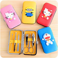 Wholesale 6pcs set Nail Tool Kits Cartoon Case Nail Clippers Mini Manicure Set Nails Tools Cuticle Grooming Kit F550