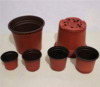 plastic basin - 50pcs Double color plastic flower pots red and black seedling pot transplantation of basin resistance to fall now soft pot