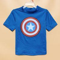 baby uv clothing - 5pcs Y Marvel Comics Captain America Rashguards rash guards poly Tee baby kleding swimwear boy surf clothes swimsuit boy uv UPF