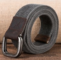 belt buckles personalized - Popular cotton canvas belt fashion double loop buckle personalized first layer of leather vintage belt best quality multiple colors
