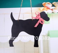Wholesale New cute dog shape hang blackboard environmental message black borad good quality ss