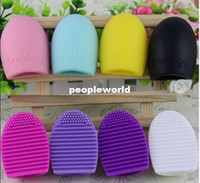 Wholesale 1000pcs mix Colors Cleaners Egg Cleaning Cleaner Glove MakeUp Washing Brush Scrubber Make Up Cleanser Board Cosmeti Brushegg Tool